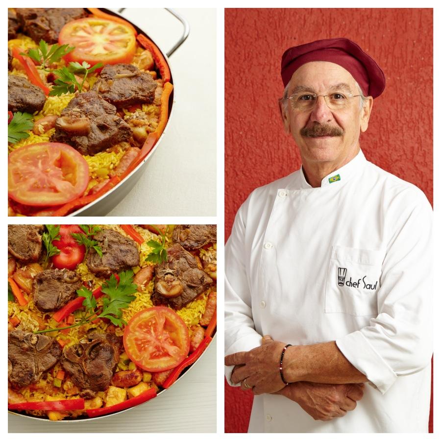 Chef Saul e sua Paella Valenciana de Cordeiro. Foto Jorge Queiroz para Revista Senhora Mesa. Todos os direitos reservados.