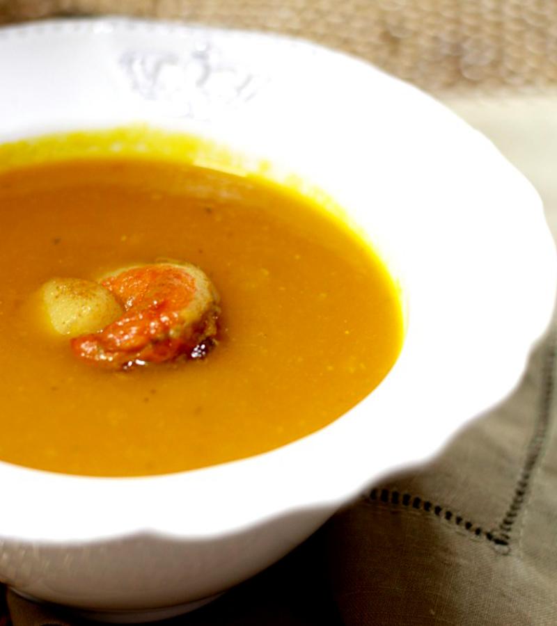 Sopa de Abóbora com Vieiras