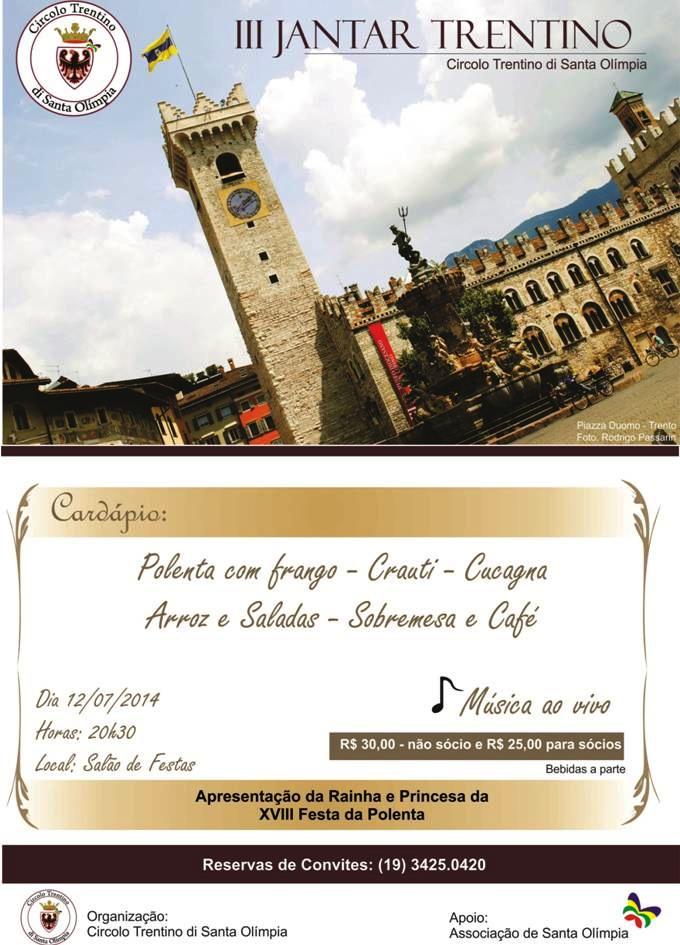 Dia 12 de Julho tem Jantar Trentino em Santa Olímpia, Piracicaba
