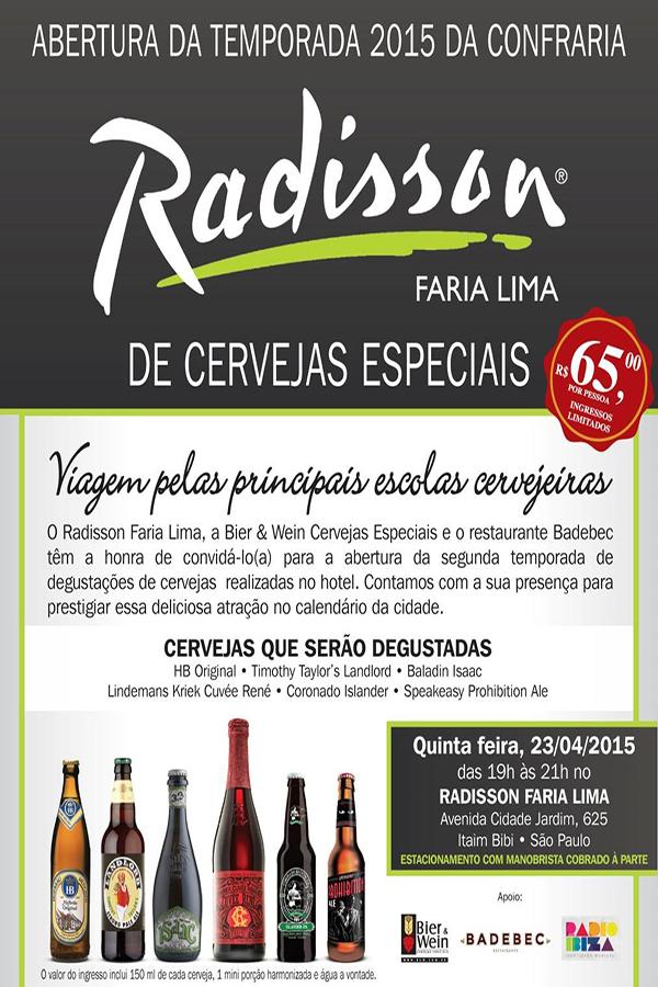 """Radisson Faria Lima SP abre temporada 2015 de Confrarias com """"viagem pelas escolas cervejeiras"""""""