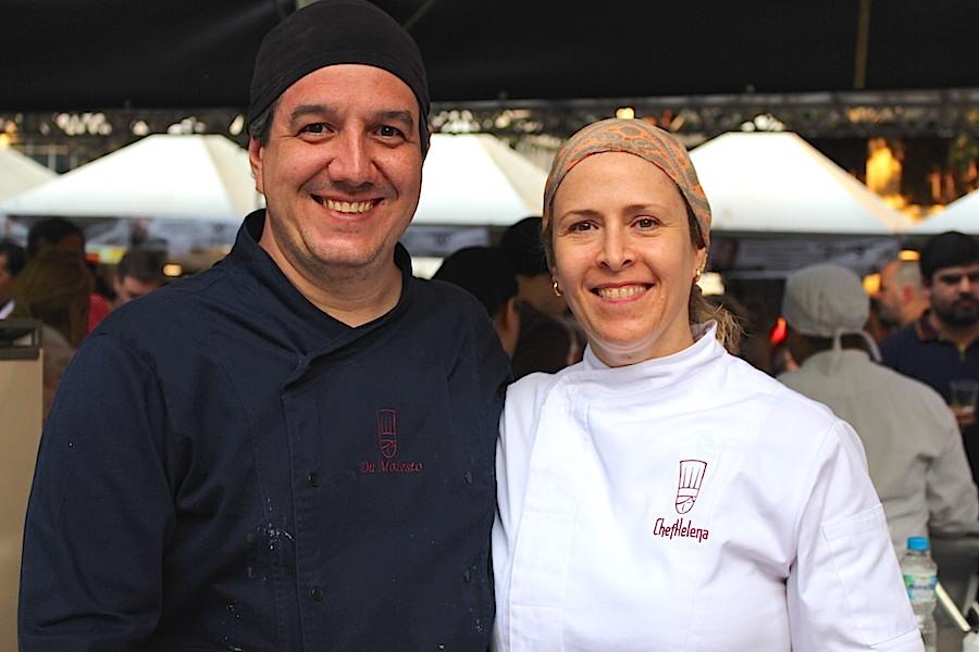 Eduardo e Chef Helena que serviu tortei de manjericão com molho basílica e muçarela de búfala.