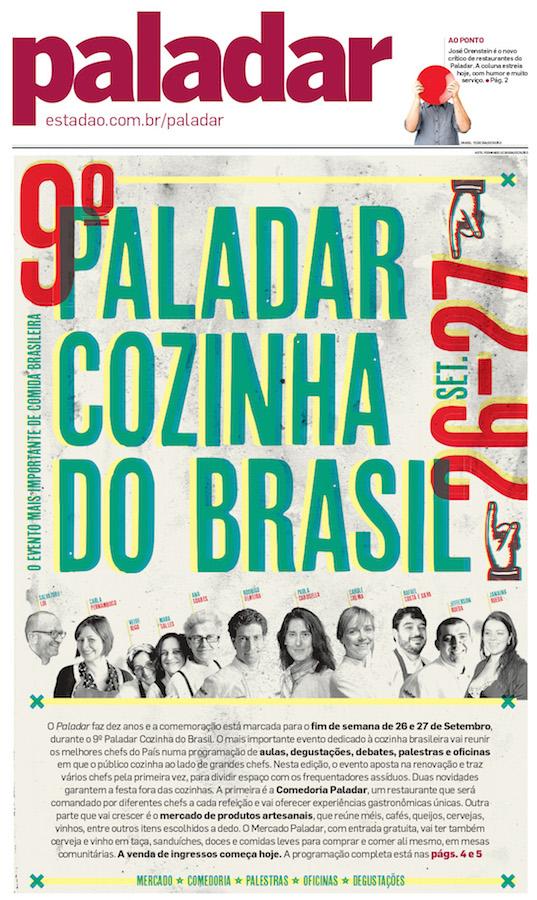 Festival Paladar Cozinha do Brasil tem Cursos com Grandes Chefs dias 26 e 27