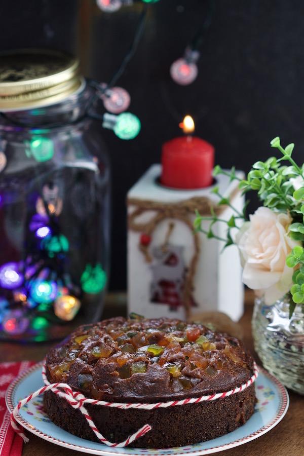Bolo de Natal com Frutas Cristalizadas