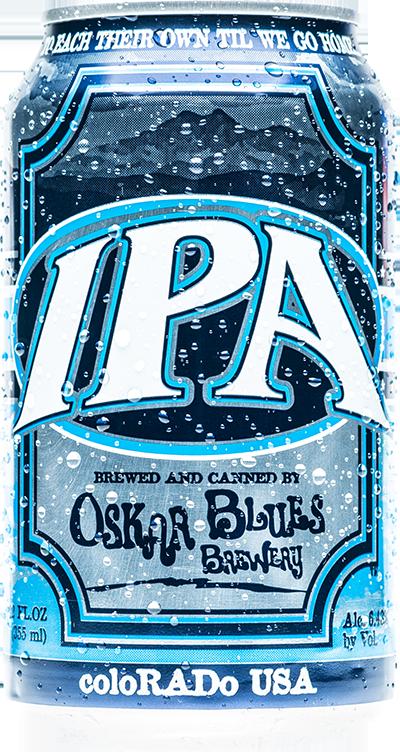 OSKAR BLUES IPA Segundo a cervejaria, uma metamodern IPA com os lúpulos Enigma, Vic Secret, Ella, Topaz e Galaxy. Além disso, uma combinação entre malte de cevada e trigo vermelho, oferecendo um conjunto de notas de maracujá, framboesa, abacaxi e cítricos.  Estilo: IPA ABV: 6,4% IBU: 70 Formato: Lata e Chope Rate Beer: 94