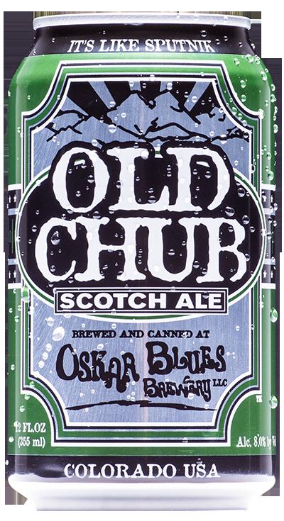 OSKAR BLUES OLD CHUB  Você vai se apaixonar por essa cerveja! Com notas de café, cacau e defumado moderado, ela oferece complexidade e um incrível corpo. Preste atenção no gole e garanta um six pack para a sua semana. Estilo: Scotch Ale  ABV: 8% IBU: 25 Formato: Lata e Chope Rate Beer: 97 - Top 50